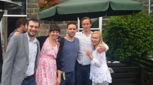 With Jake Kerridge, Will Carver, Tom Wood, and Sarah Pinborough. I'm standing on a bollard and still look short.